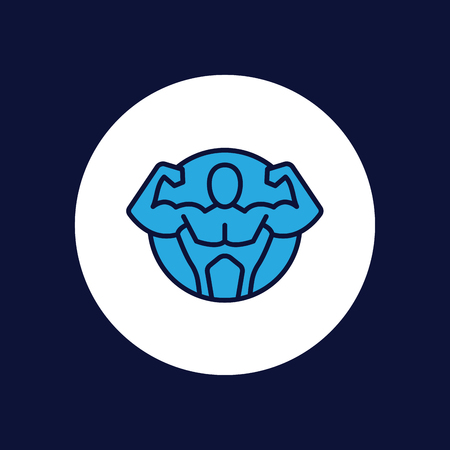 Brawn fit icons. Flexing bicep muscle strength or power outline icon fitness emblem for exercise apps and websites. Illustration