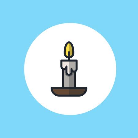 Candle line icon, outline vector sign, linear style pictogram isolated on white. Symbol, logo illustration. Editable stroke Ilustração