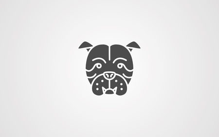 Bulldog head vector line icon, sign, illustration on white background, editable strokes