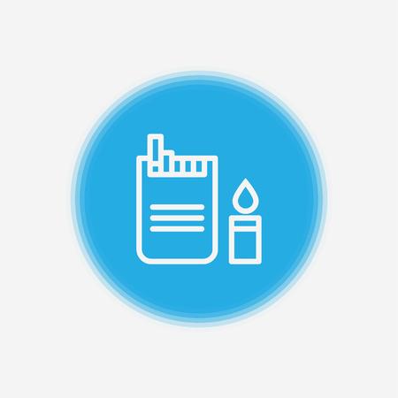 Cigarette Isolated Flat Web Mobile Icon Sign Symbol Button Element Silhouette illustration