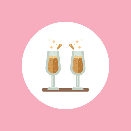 Champagne glasses line icon isolated on white background. Vector line icon champagne glasses for infographic, website or app.