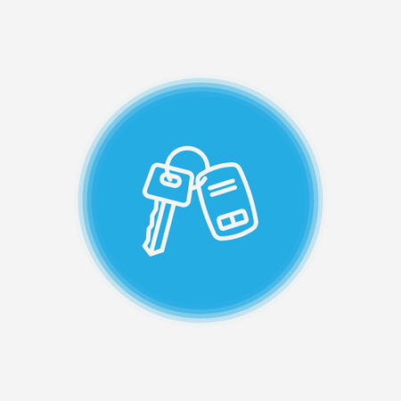 Car key icon in outline style isolated on white background