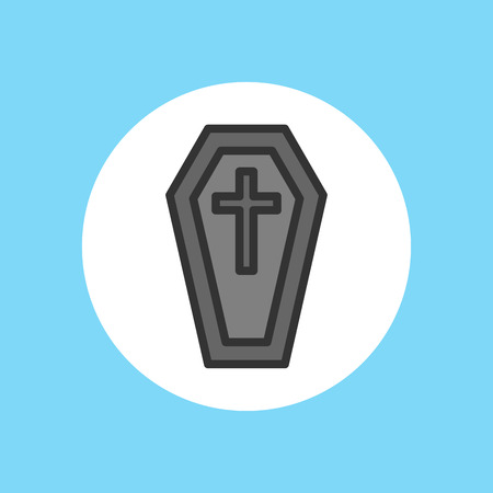 Halloween coffin icon. Outline illustration of coffin vector icon for web design Иллюстрация