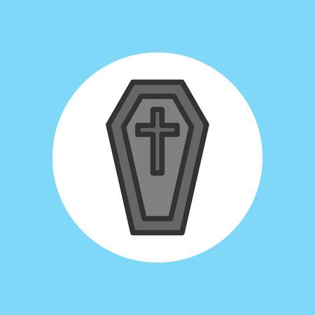 Halloween coffin icon. Outline illustration of coffin vector icon for web design Illustration