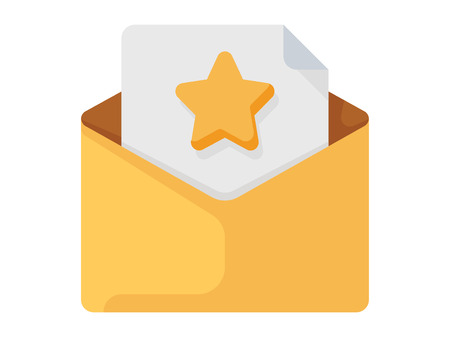 Opened envelope with letter inside. Receive mail icon on the white background