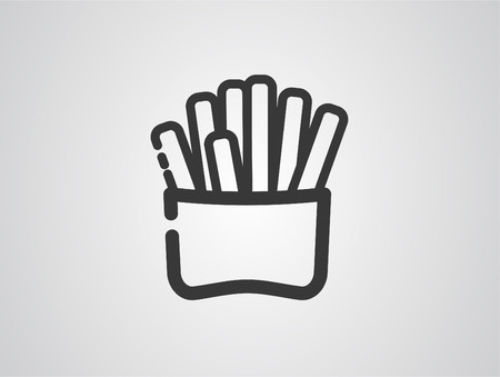 French fries. Fast food. Fried potatoes in a red paper packing on a white background. Flat vector illustration