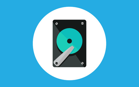 Hard drive icon. Element of computer parts with name icon for mobile concept and web apps. Filled outline Hard drive icon can be used for web and mobile on gray background Çizim