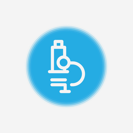 Microscope flat icon. Single high quality outline symbol of education for web design or mobile app. Thin line signs of Microscope for design logo, visit card, etc. Outline pictogram of Microscope