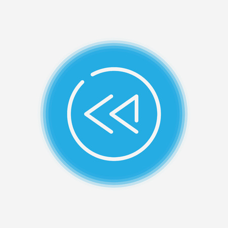 Rewind button outline icon. linear style sign for mobile concept and web design. Media player button rewind simple line vector icon. Symbol, logo illustration. Pixel perfect vector graphics