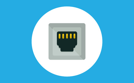 cable and port isolated vector icon, network socket icon, connector icon