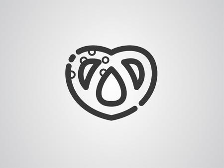 Pretzel line icon, outline vector sign, linear style pictogram isolated on white. Symbol, logo illustration. Editable stroke Vettoriali