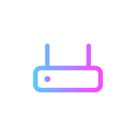 Wireless router circular line icon. Round sign. High speed internet connection flat style vector symbol