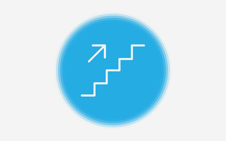 Evacuation Stairs pointer outline icon. linear style sign for mobile concept and web design. Stairs directional sign simple line vector icon. Symbol, logo illustration. Pixel perfect vector graphics