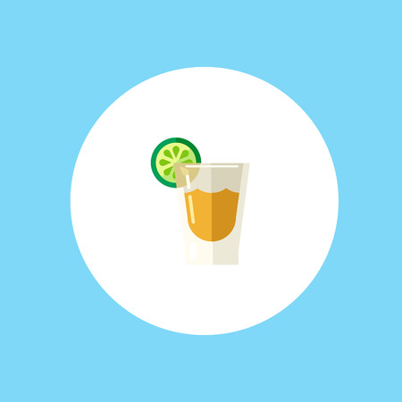 Tequila shot glass with lime slice icon vector, filled flat sign, solid pictogram isolated on white. Symbol, logo illustration. Pixel perfect