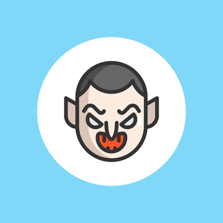 Dracula Vampire line icon, halloween and scary, horror sign vector graphics, a linear pattern on a white background, eps 10.