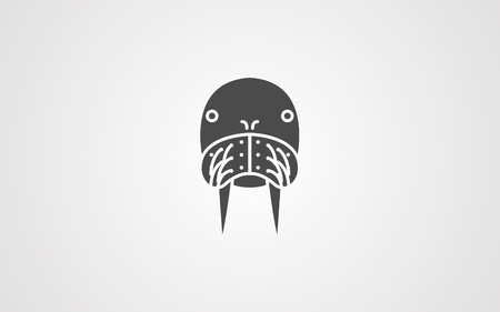 Walrus head line icon, outline vector sign, linear style pictogram isolated on white. Sea lion animal symbol, logo illustration. Editable stroke
