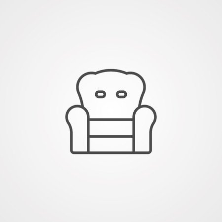 Armchair simple black icon, vector illustration isolated on white background