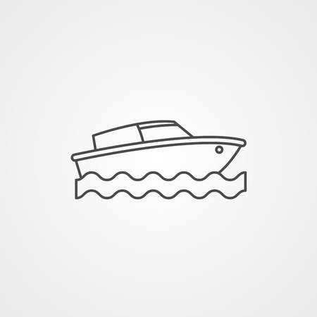 Private yacht vector illustration. Sea boat logotype or label in outline design. Yachting icon isolated on white background