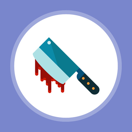 Bloody cleaver flat vector