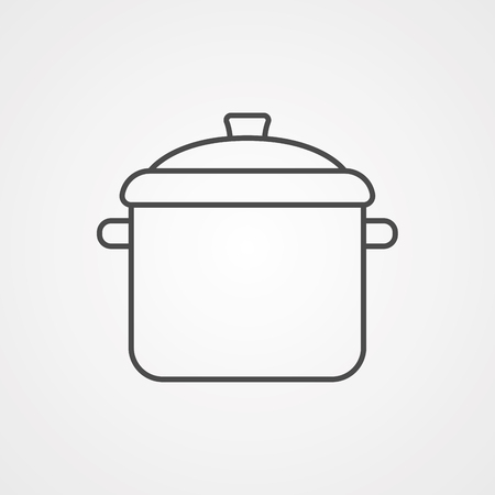 Cooking pot icon vector, filled flat sign, solid pictogram isolated on white. Pan symbol, logo illustration.