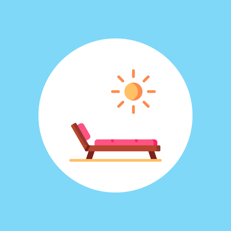 Deck chair icon or logo in modern line style. High quality black outline pictogram for web site design and mobile apps. Vector illustration on a white background. Vettoriali