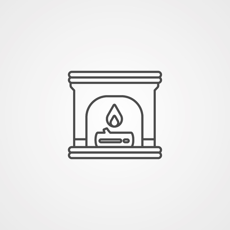 Stone oven or fireplace line icon, outline vector sign, linear style pictogram isolated on white. Symbol, logo illustration. Editable stroke