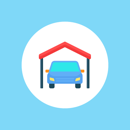 Garage with gate icon in outline style. Building symbol isolated vector illustration Illustration