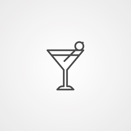 Cocktail icon vector. Outline glass, line drink symbol Abstract illustration Eps10. Graphic background web icon.