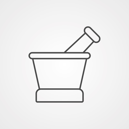 Mortar and pestle line icon, outline vector sign, linear style pictogram isolated on white. Pounder symbol, logo illustration. Editable stroke. Pixel perfect graphics