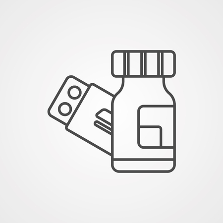 Pills, Medicine, Pharmacy Icon In Trendy Thin Line Style Isolated On White Background. Medical Symbol For Your Design, Apps, Logo, UI. Vector Illustration, Eps10.
