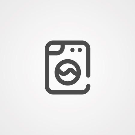 Laundry, washing machine line icon, outline vector sign, linear style pictogram isolated on white. Symbol, logo illustration