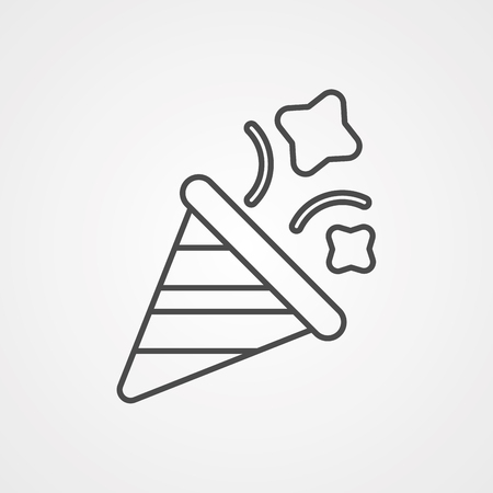 Party hat icon in outline style isolated on white background. Holiday symbol illustration
