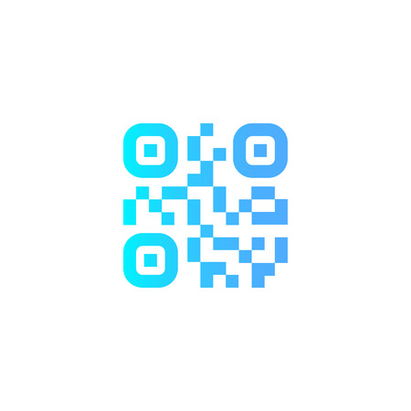 QR scanning application icons. Vector simplified QR code sample for smartphone scanning. Vector illustration.