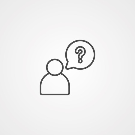 handling a question. Element of job interview icon for mobile concept and web apps. Thin line handling a question can be used for web and mobile on white background Foto de archivo - 111192555