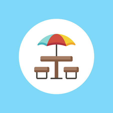 Picnic basket on table icon in flat color design vector illustration Çizim