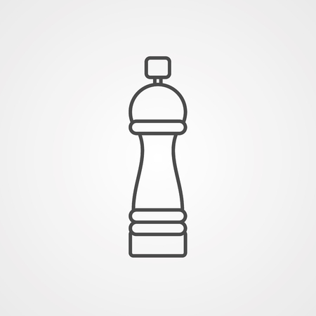 Salt pepper shaker icon drawing in flat art style. Label for culinary design needs - sticker, printed materials, pictogram for sites, mobile apps and other projects. Vector illustration