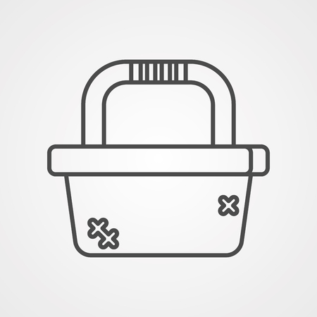 Picnic basket icon in outline style isolated on white background. Park symbol stock vector illustration.