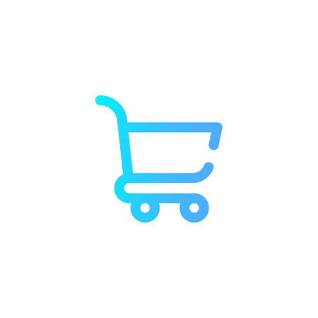 Vector illustration logo of a shopping cart icon isolated on white background - buy fast concept. High resolution editable