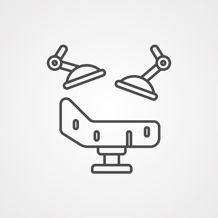 Dental chair icon. Outline illustration of dental chair vector icon for web