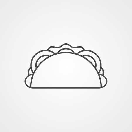 Taco outline icon. linear style sign for mobile concept and web design. Mexican taco fast food simple line vector icon. Symbol, logo illustration. Pixel perfect vector graphics Illustration