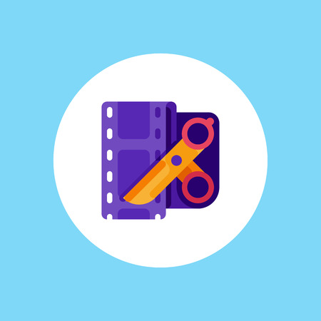 Video editing flat vector icon. Film editing design icon from the background , Video edit concept icons in flat style. Video production simple flat icon. Scissors and film strip illustration.
