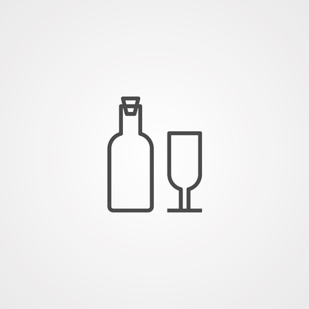 Wine bottle icon vector isolated on white background, logo conce. Glass, alcohol.