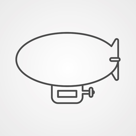 Airship zeppelin line icon, outline vector sign, linear style pictogram isolated on white. Dirigible balloon symbol, logo illustration. Editable stroke Illustration
