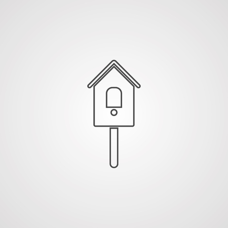 Bird feeder thin line icon. Birdhouse vector illustration isolated on white. Garden outline style design, designed for web and app.  イラスト・ベクター素材