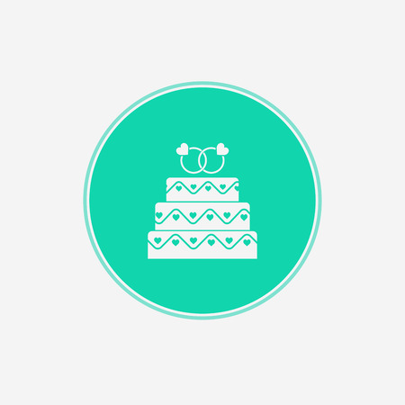 Wedding cake line icon. Vector logo for bakery, party service. Tasty torte thin linear symbol for event agency. Linear illustration of dessert.