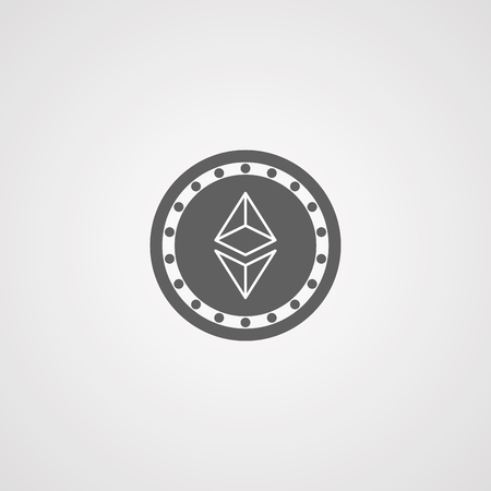 Ethereum flat icon for internet money. Crypto currency symbol and coin image. Vector illustration.