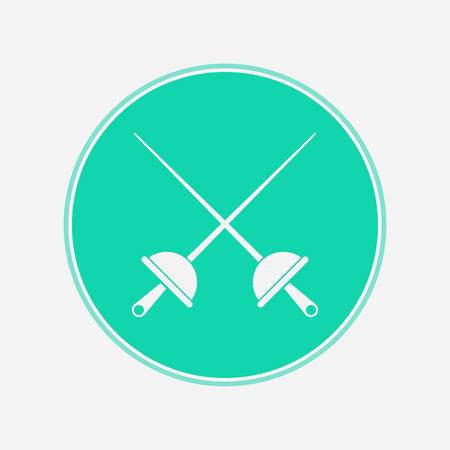 Fencing swords icon, vector illustration, black sign on isolated background Illusztráció