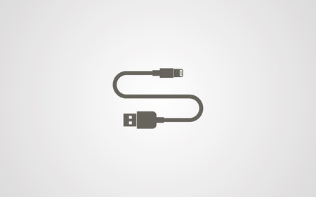 usb cable icon vector, filled flat sign, solid pictogram isolated on white. Symbol illustration.
