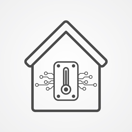 Smart thermostat icon vector, filled flat sign, solid pictogram isolated on white. Symbol, logo illustration.