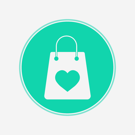 Shopping bag with heart icon vector, filled flat sign, solid pictogram isolated on white. Symbol, logo illustration.